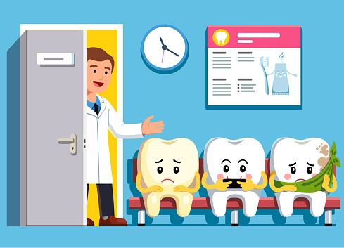 Smiling and upset cartoon teeth characters sitting in line at dental clinic office waiting room. Cheerful dentist inviting next patient. Dental clinic visit and dentistry concept. Flat style vector illustration