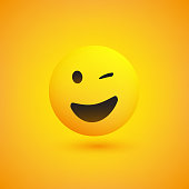 Simple Happy Emoticon on Yellow Background - Vector Design