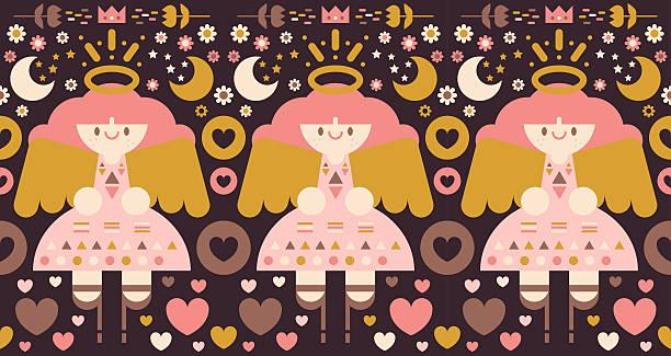 smiling angel pattern - schutzengel stock-grafiken, -clipart, -cartoons und -symbole