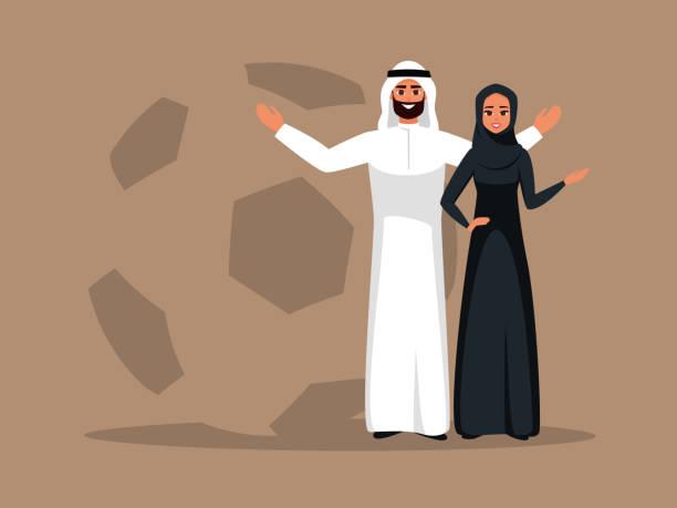 ilustrações de stock, clip art, desenhos animados e ícones de smiling arab woman and man stand together with open arms on soccer ball background - soccer supporter portrait