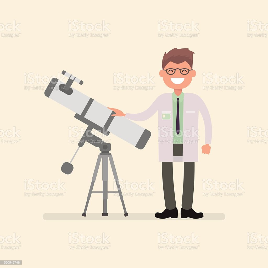 Souriant astronome à proximité du télescope. illustration de vecteur - Illustration vectorielle