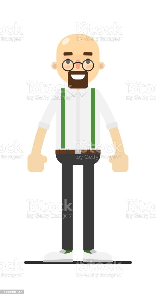 Smiling bald and bearded man character vector art illustration