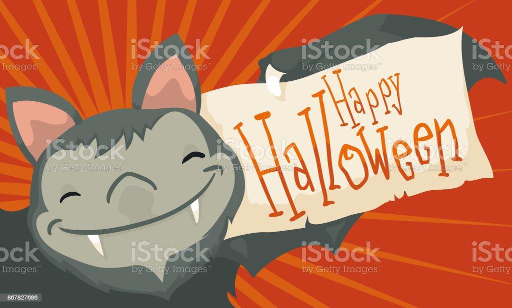 Souriant Bat Tenant Un Livre De Voeux Pour Halloween