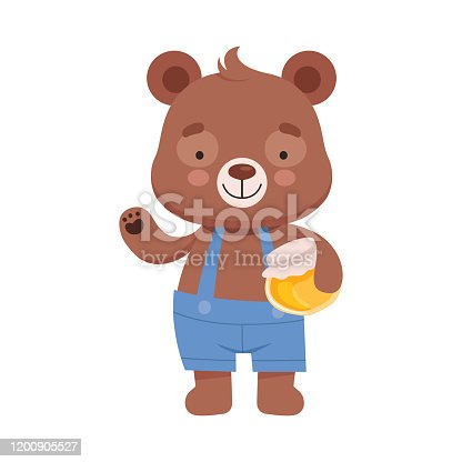 istock Smiling Bear Character Wearing Playsuit Holding Honey Jar in His Paws Vector Illustration 1200905527