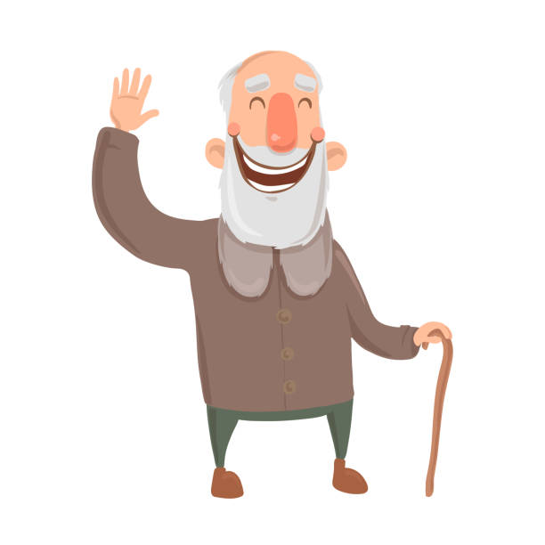smiling bearded old man with cane waves hand. happy grey-haired elderly man greets you. cartoon character vector illustration. isolated image on white background. - old man funny face drawing stock illustrations, clip art, cartoons, & icons