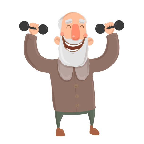 smiling bearded old man with dumbbells. active elderly man exercising. cartoon character vector illustration. isolated image on white background. - old man smiling silhouettes stock illustrations, clip art, cartoons, & icons