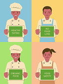 Beautiful Children Characters Vector Art Illustration. Smiling beautiful children chef (boys and girls) holding a digital tablet screen showing food issues.