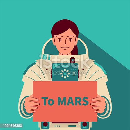"""Smiling beautiful female astronaut (spaceman) without helmet holding a sign with the text """"to MARS"""", exploration of Mars, Mars immigrants, space travel and exploration, competition in outer space"""