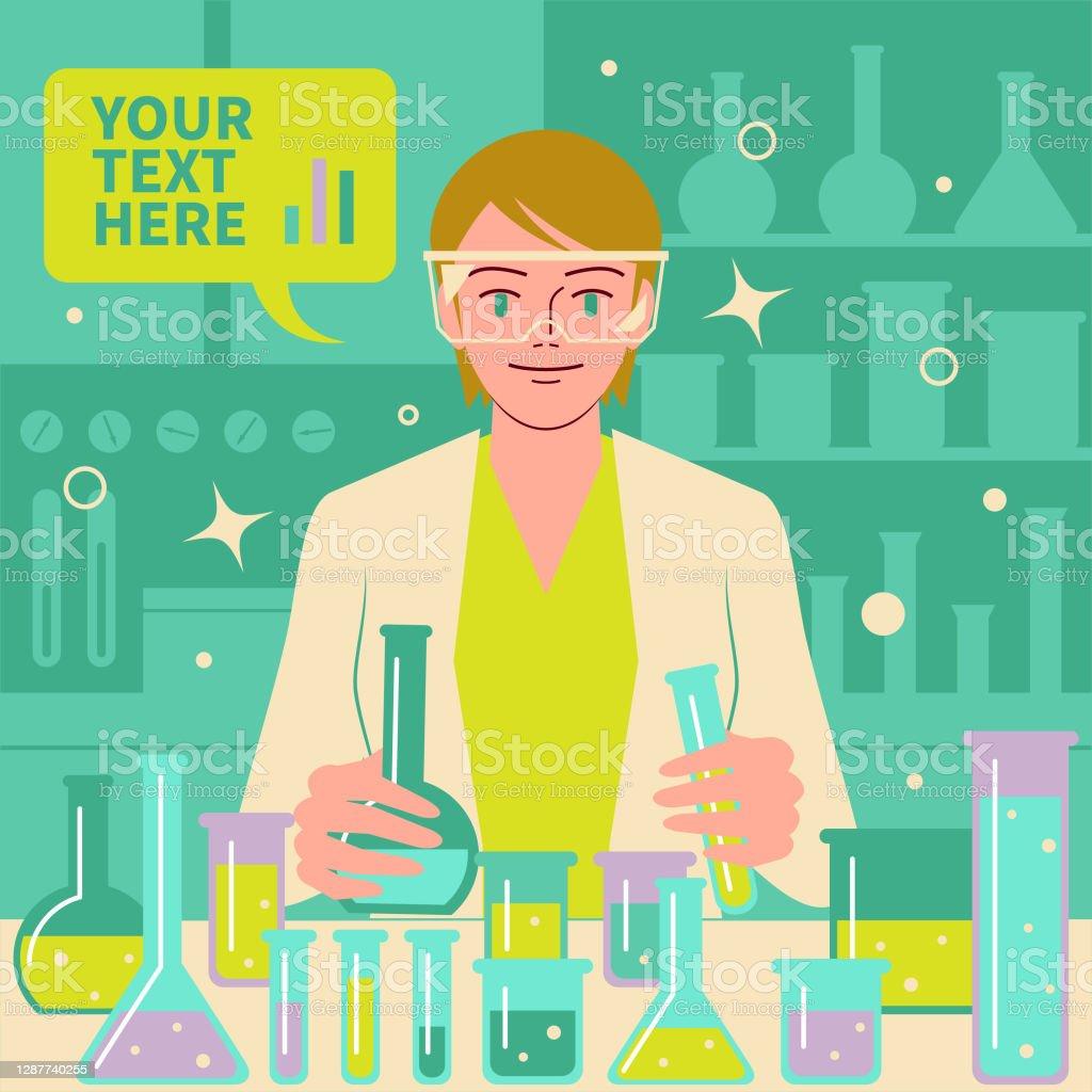 微笑美麗的女科學家(醫生,生物化學家)在實驗室做科學實驗和醫學研究 - 免版稅2019冠狀病毒病圖庫向量圖形