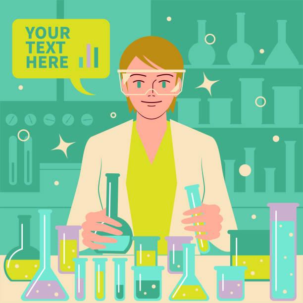 微笑美麗的女科學家(醫生,生物化學家)在實驗室做科學實驗和醫學研究 - medical technology 幅插畫檔、美工圖案、卡通及圖標