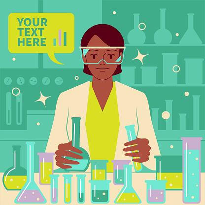 微笑美麗的女科學家醫生生物化學家在實驗室做科學實驗和醫學研究向量圖形及更多2019冠狀病毒病圖片