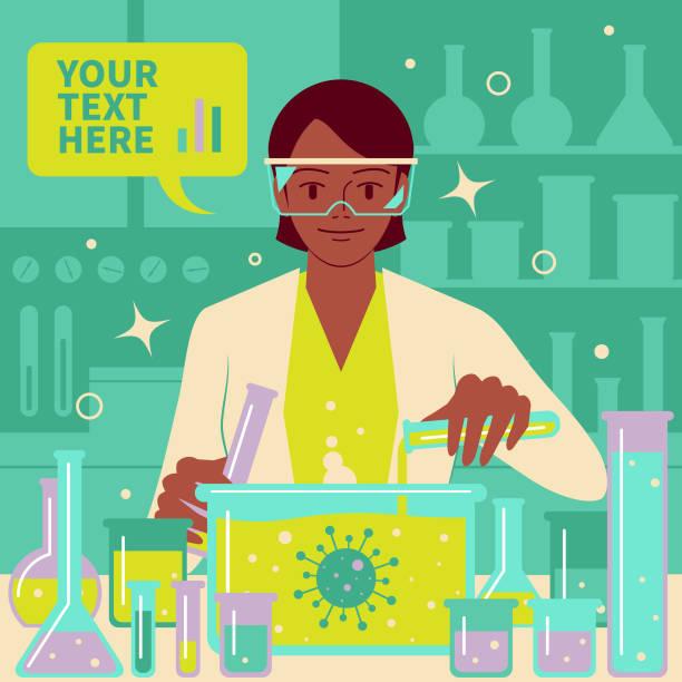 微笑美麗的女科學家(醫生,生物化學家)在實驗室做科學實驗和醫學研究,以對抗冠狀病毒(冠狀病毒,細菌,病毒) - medical technology 幅插畫檔、美工圖案、卡通及圖標