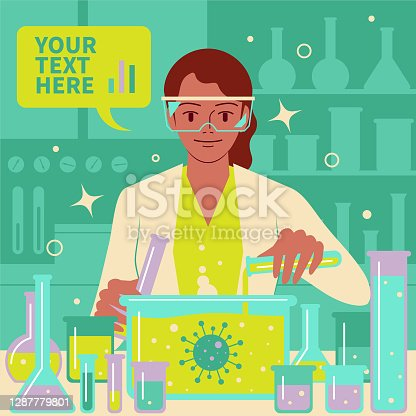 istock Smiling beautiful female scientist (doctor, biochemist) doing a scientific experiment and medical research in a laboratory to fight against coronavirus (covid-19, bacterium, virus) 1287779801