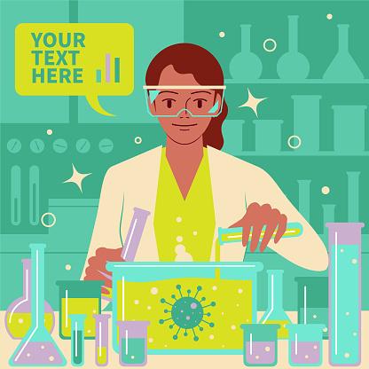 微笑美麗的女科學家醫生生物化學家在實驗室做科學實驗和醫學研究以對抗冠狀病毒冠狀病毒細菌病毒向量圖形及更多2019冠狀病毒病圖片