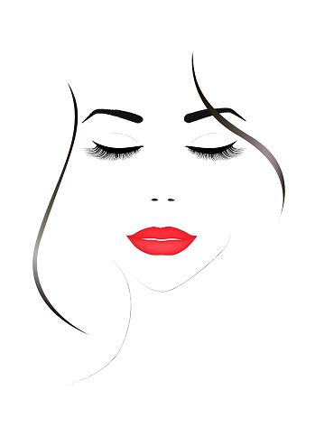 smiling beautiful woman face with closed eyes and red lips