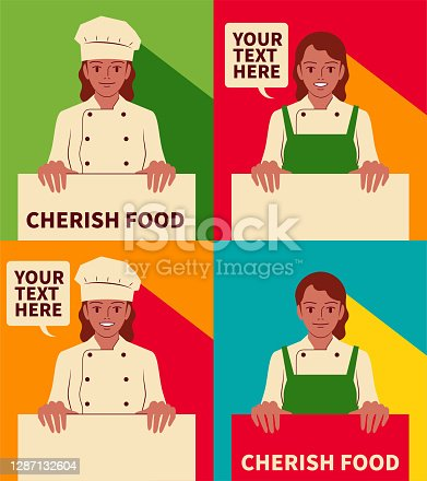 istock Smiling beautiful young female chef holding a blank sign 1287132604