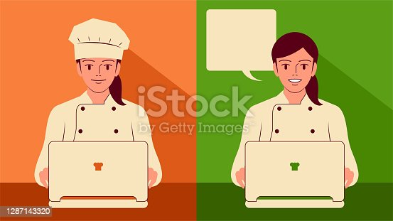 istock Smiling beautiful young female chef (baker) using laptop, small business CRM concept 1287143320