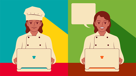 Smiling beautiful young female chef (baker) using laptop, small business CRM concept