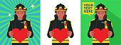istock Smiling beautiful young female firefighter holding a heart shape sign, with personal protective equipment 1288729702