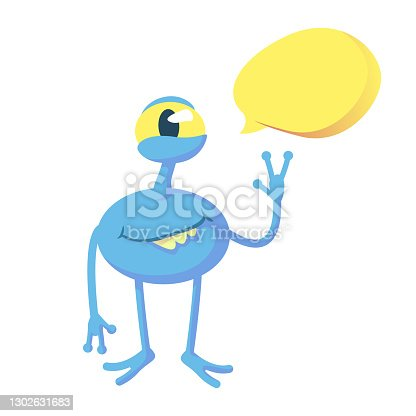istock Smiling blue alien flat cartoon vector illustration. Fantastic creature. Ready to use 2d character template for commercial, animation, printing design. Isolated comic hero with empty speech bubble 1302631683