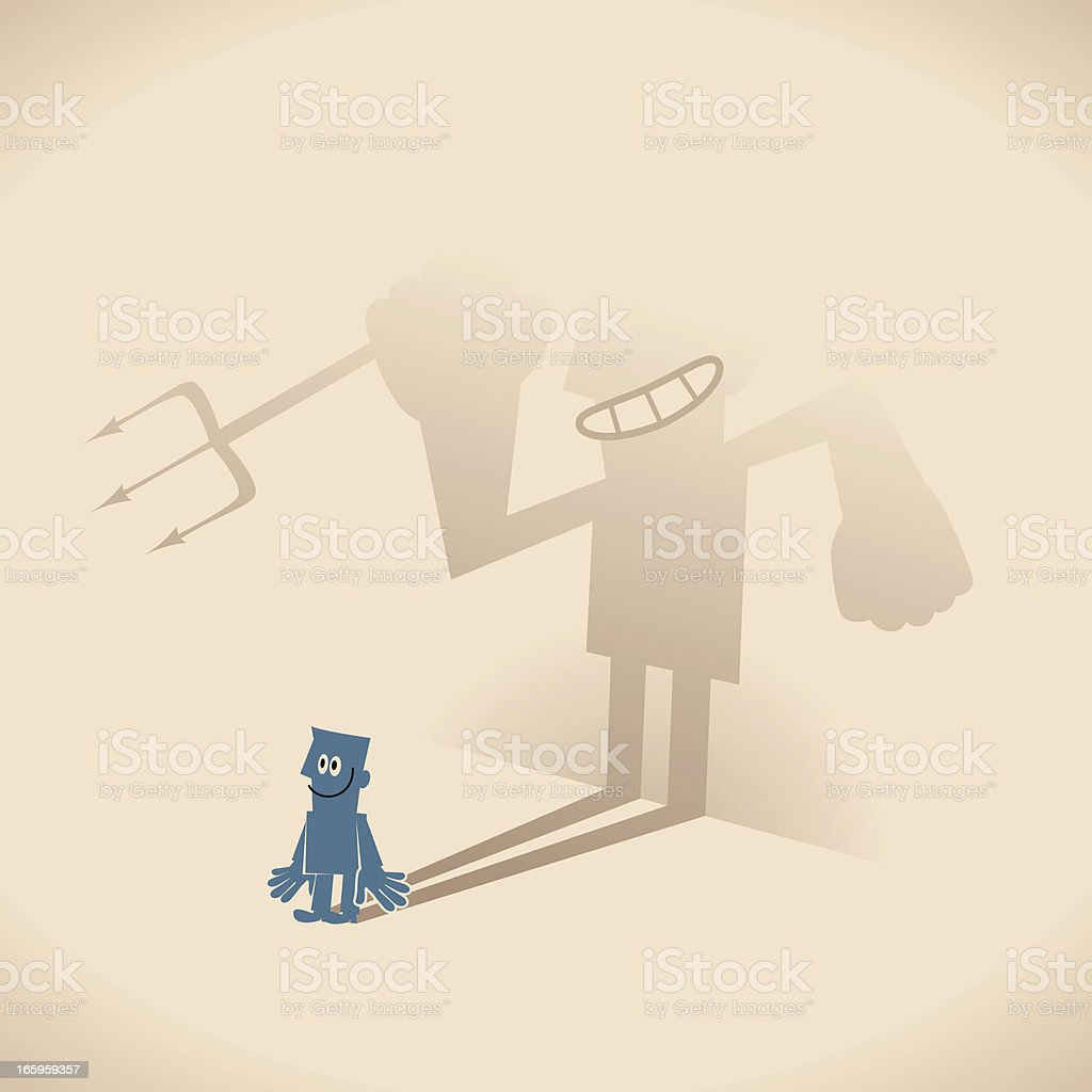 Smiling blue guy businessman and weird devil shaped shadow royalty-free stock vector art