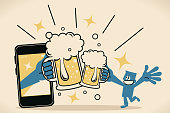 Blue Little Guy Characters Full Length Vector art illustration.Copy Space. Smiling blue man lifting beer glass to join in a celebratory toast (drinking beer and toasting) with big hand from smart phone.