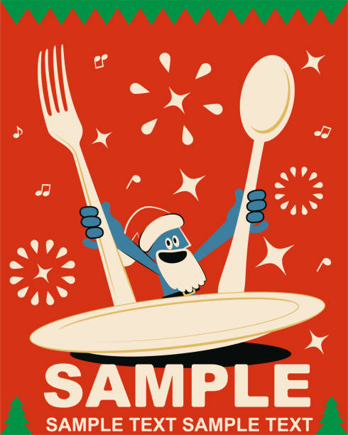 illustrazioni stock, clip art, cartoni animati e icone di tendenza di smiling blue man with santa hat and beard and huge fork and spoon and empty plate, merry christmas and new year greeting card - pranzo di natale