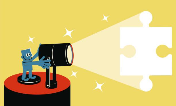 lächelnder blauen mann mit spotlight und vielfarbig puzzleteil - schlüsselfertig stock-grafiken, -clipart, -cartoons und -symbole