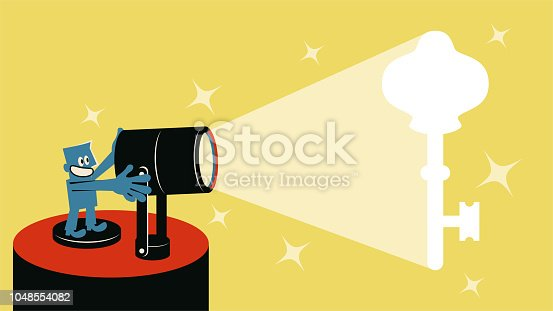 Blue Little Guy Characters Full Length Vector art illustration.Copy Space. Smiling blue man with spotlight and spotlit Key.
