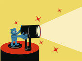 Blue Little Guy Characters Full Length Vector art illustration.Copy Space. Smiling blue man with spotlight.