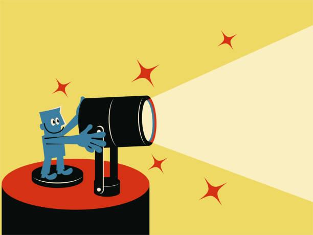Smiling blue man with spotlight vector art illustration