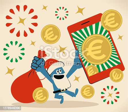 istock Smiling blue Santa Claus is holding a sack and a smartphone with European Union currency (Euro sign coin); Merry Christmas and New Year Greeting 1278946390