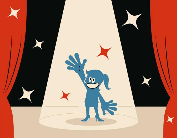 illustrazioni stock, clip art, cartoni animati e icone di tendenza di smiling blue woman (host) on stage with spotlight - organizzatore della festa
