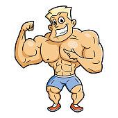 Smiling bodybuilder posing