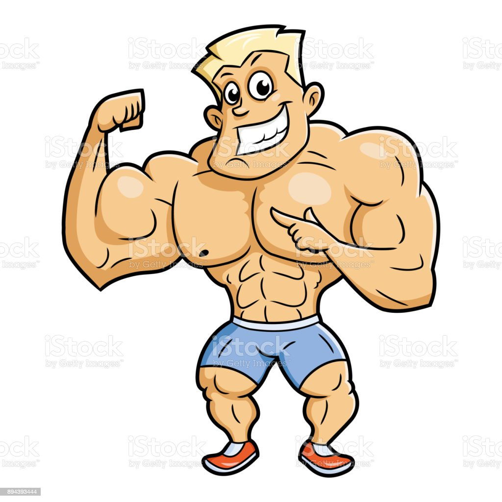 Smiling bodybuilder posing vector art illustration