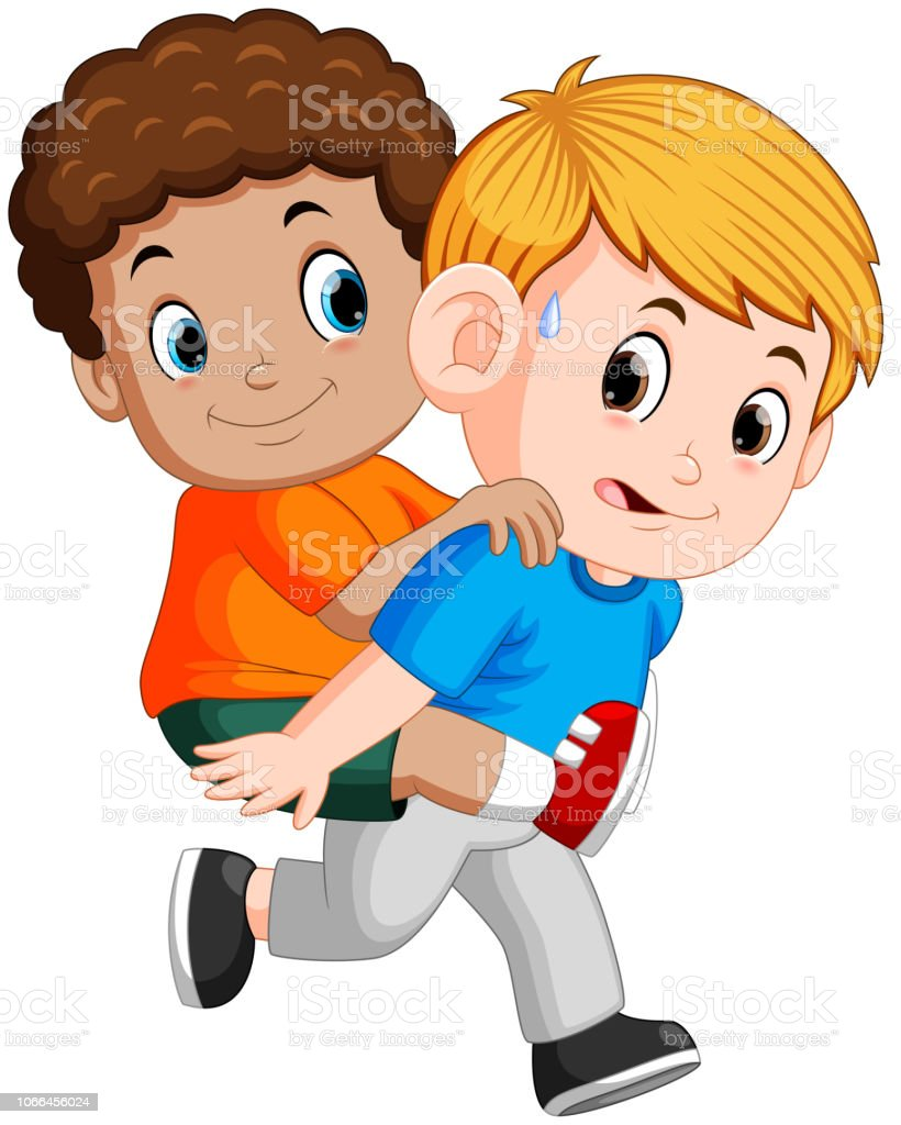 Smiling boy carrying his best friend on his back illustration