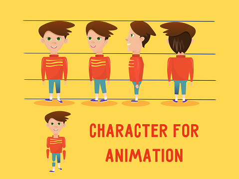 Smiling boy character wearing red t-shirt and jeans. Ready for animation. Cartoon turnaround body.