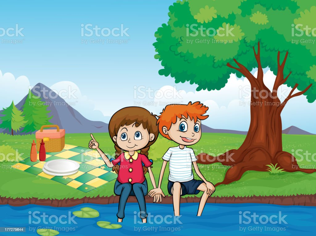 Smiling boy, girl and river royalty-free smiling boy girl and river stock vector art & more images of adult
