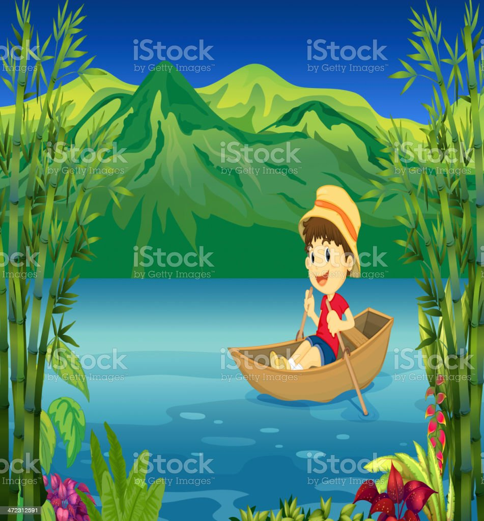 Smiling boy in a boat royalty-free stock vector art