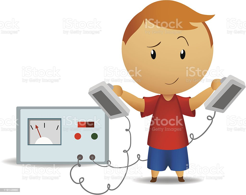 Smiling boy with medical defibrillator royalty-free smiling boy with medical defibrillator stock vector art & more images of boys