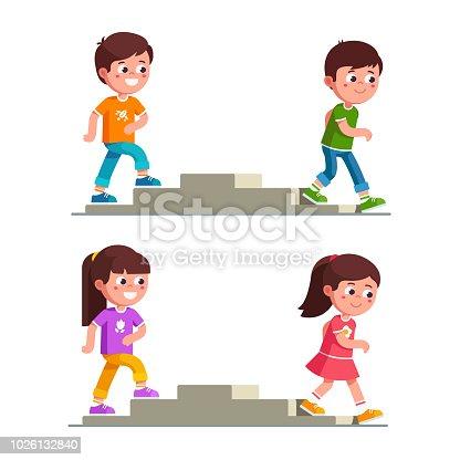 97 Child Cartoon Climbing Stairs Illustrations Royalty Free Vector Graphics Clip Art Istock
