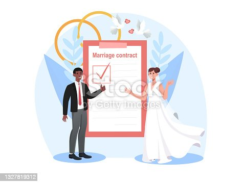 istock Smiling bride and groom are signing marriage contract together 1327819312