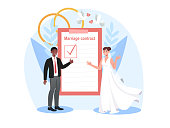 Smiling bride and groom are signing marriage contract together. Happy couple getting married and signing marriage contract or prenuptial agreement form on clipboard. Flat cartoon vector illustration