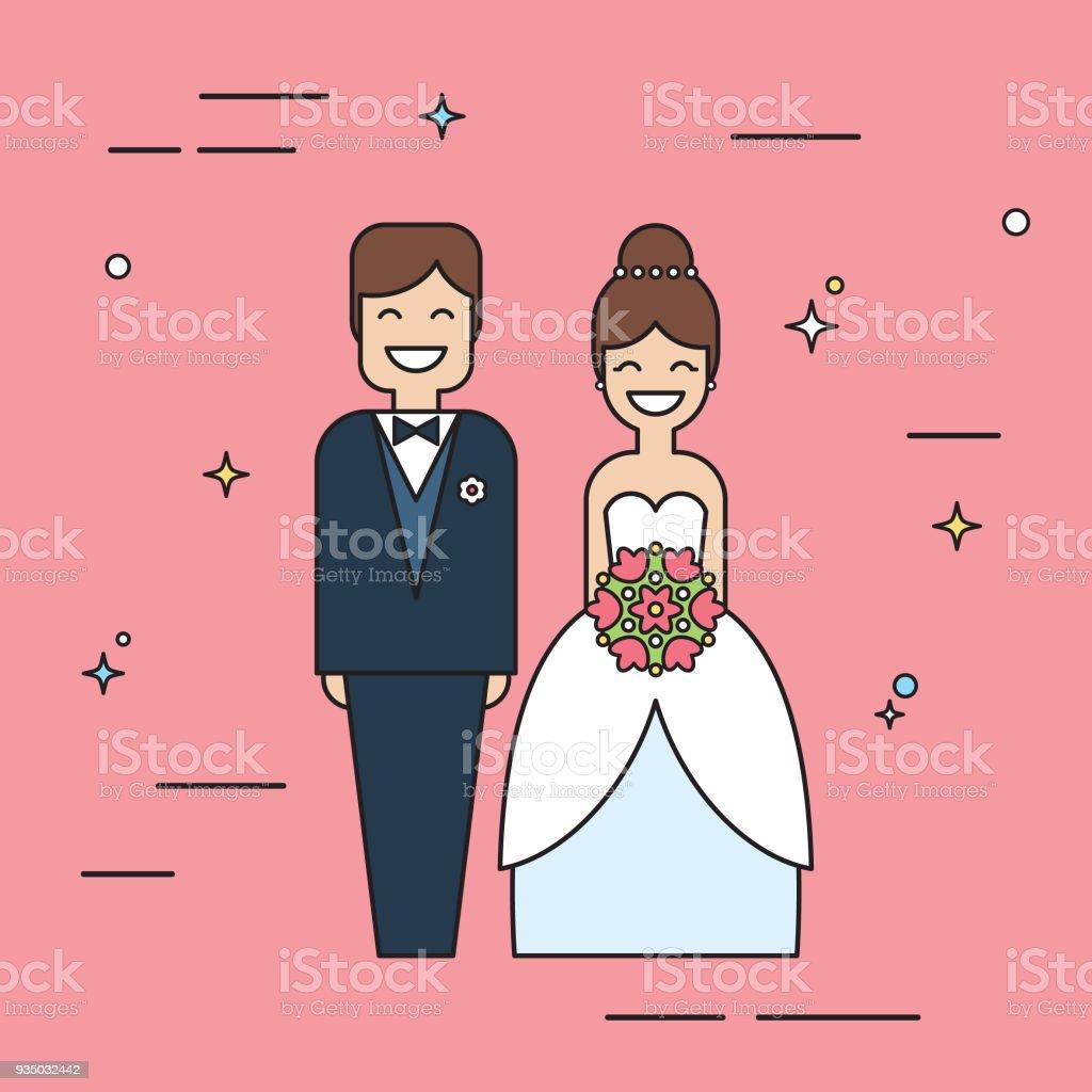 Lachelnde Braut Und Brautigam Lustige Hochzeit Zeichentrickfiguren