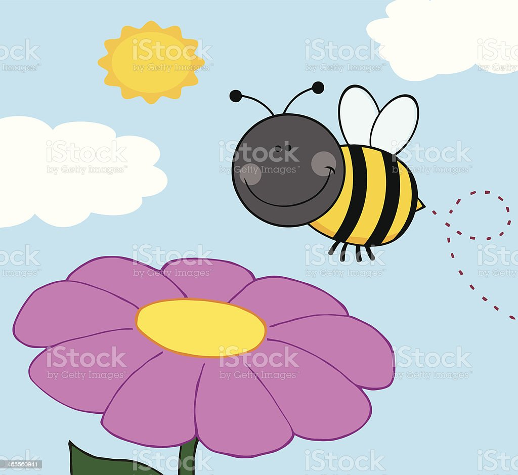 Smiling Bumble Bee Flying Over Flower royalty-free stock vector art