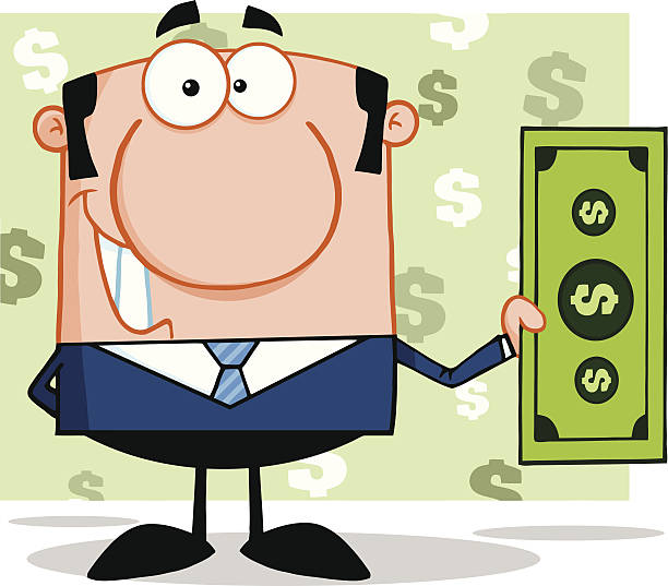Smiling Business Man Holding A Dollar Bil With Background Cartoon Character Smiling Business Man Holding A Dollar Bil With Background bil stock illustrations