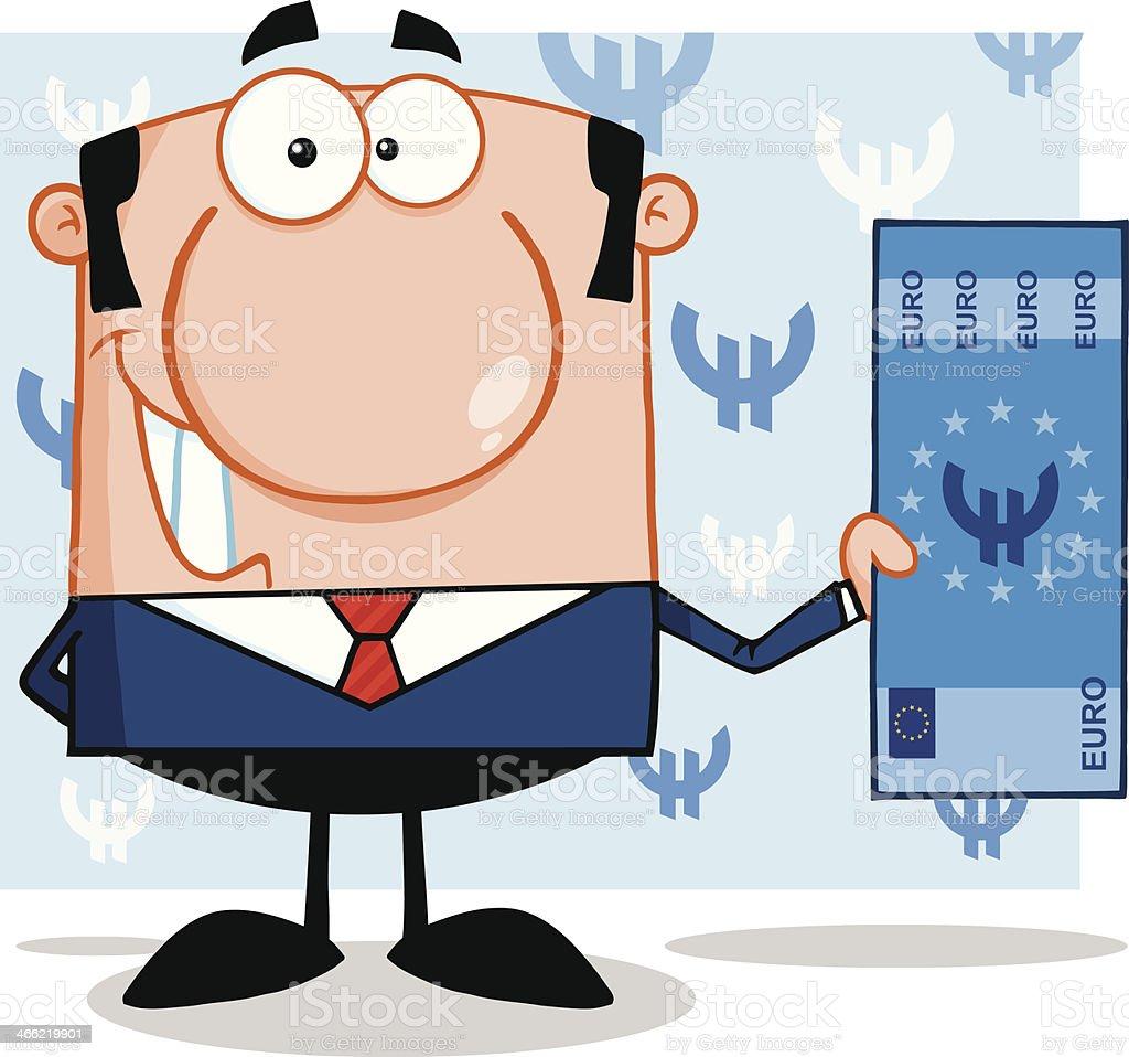 Souriant Homme d'affaires tenant un Euro-américains avec en arrière-plan - Illustration vectorielle