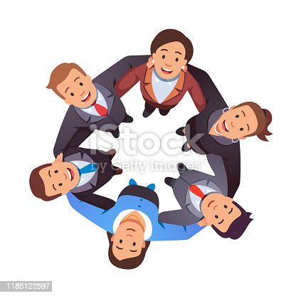 Smiling business people team man & woman group hugging each other holding arms in circle and looking up together. Aerial top view. Teamwork, unity, togetherness. Flat style vector character isolated illustration