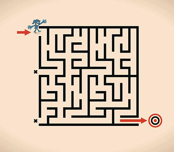 """lächeln business frau (geschäftsfrau) am eingang zu """"maze"""" - labyrinthgarten stock-grafiken, -clipart, -cartoons und -symbole"""
