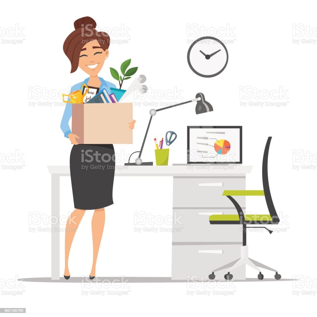 smiling business woman holding cardboard box with work stuff at a new workplace vector art illustration